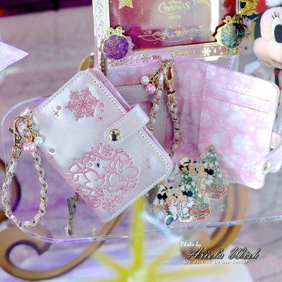 ArielWish日本東京迪士尼2018聖誕節米奇米妮粉紅色浪漫優雅英倫風雕花珍珠票卡夾車票套證件套悠遊卡套零錢包絕版品