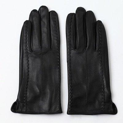 觸控手套 真皮手套(零碼賠售出清、恕不退換)-雙針背筯山羊皮加絨女手套73wm53[獨家進口][米蘭精品]