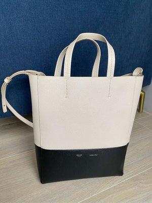 Celine CABAS 黑白拼色 皮革 水桶包 手提 肩背 斜背