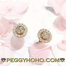 【Peggyhoho】全新18K玫瑰金((單頭39份))配23份jacket耳環套真鑽石4爪耳環一對| 玫瑰金系列 |超值抵戴
