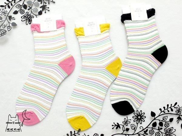 【拓拔月坊】日本知名品牌 Best Beauty 彩色蕾絲橫紋 紗質短襪 日本製~現貨!