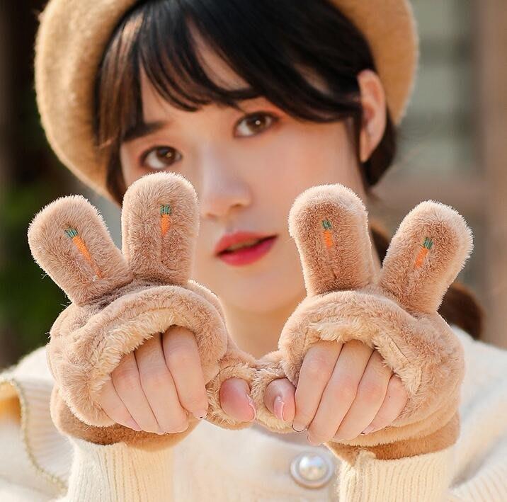 保暖手套 女冬天可愛保暖加絨韓版學生百搭潮秋冬半指兔子卡通毛絨春秋