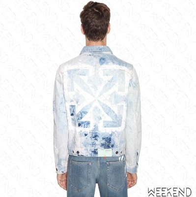 【WEEKEND】 OFF WHITE Washed Arrows 水洗 箭頭 長袖 牛仔 外套 夾克 藍色 20春夏