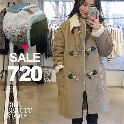 超哥小舖【C8007】復古率性翻領寬鬆顯瘦鹿皮絨羊羔毛長袖中長款刷毛大衣外套
