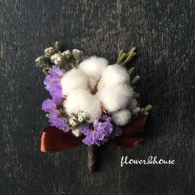 D16。棉花乾燥花胸花。另有乾燥花捧花。拍照捧花。頭花。客製新娘捧花。台北自取【Flower&House花藝之家】