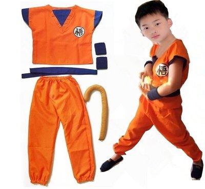 孫悟空 七龍珠 角色扮演兒童服裝 六件組合 衣服+褲子+腰帶+護腕 +尾巴+鞋套-現貨