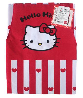 【卡漫迷】 Hello Kitty 圍裙 紅心條紋 ㊣版 雙口袋 廚房 工作裙 烘焙課 烹飪課 做點心 凱蒂貓 台灣製