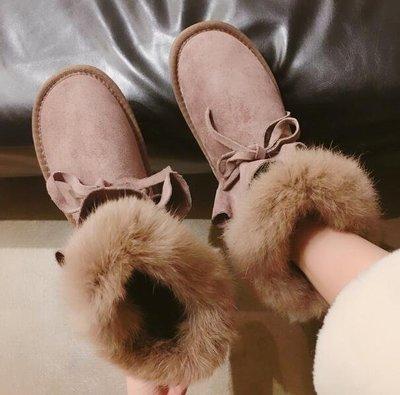 雪地靴  雪靴 網紅加絨短靴 學生系帶韓版百搭平底防滑棉鞋 安全鞋—莎芭