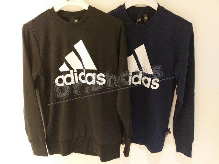 【Dr.Shoes 】Adidas Logo Crewneck 男裝 休閒 長袖T恤 黑CD6275 深藍CW3870