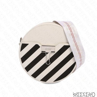 【WEEKEND】 OFF WHITE Round Diag 線條 圓形 肩背包 白色 20春夏