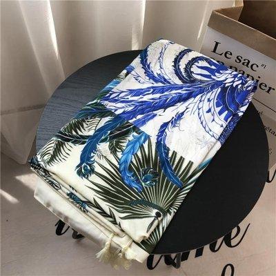 披肩紗巾夏季民族風棉麻手感圍巾藍鳳凰流蘇遮陽絲巾防曬沙灘巾WM-5687
