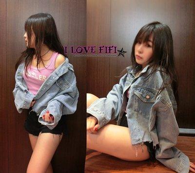 I❤FIFI 韓版不修邊短版有形百搭小寬鬆牛仔外套