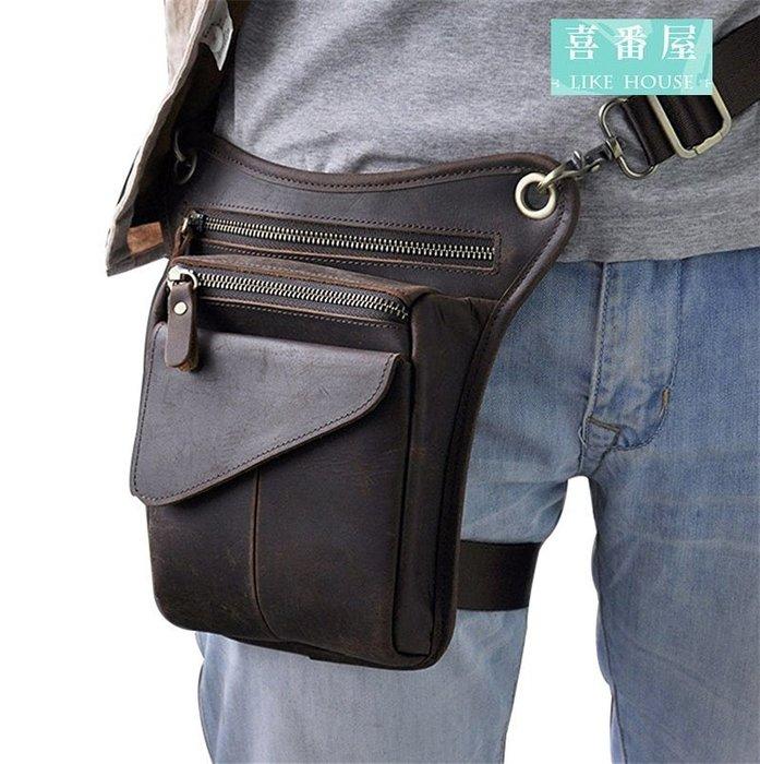 【喜番屋】日韓版真皮頭層牛皮隨身8吋多隔層腿包腰包手機包男包肩背包【LB118】