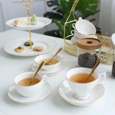 歐式下午茶茶具杯碟杯碟咖啡杯杯骨瓷金邊簡約英式高檔純白色家用