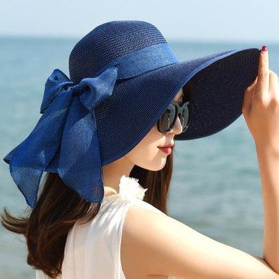 哆啦本鋪 韓版女夏天防曬大沿太陽沙灘海邊度假遮陽可折疊出游草帽 2785 D655