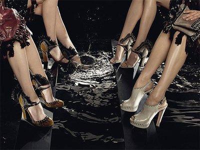 Hermes 愛馬仕真皮蕾絲花邊雙色手工楔形高跟鞋