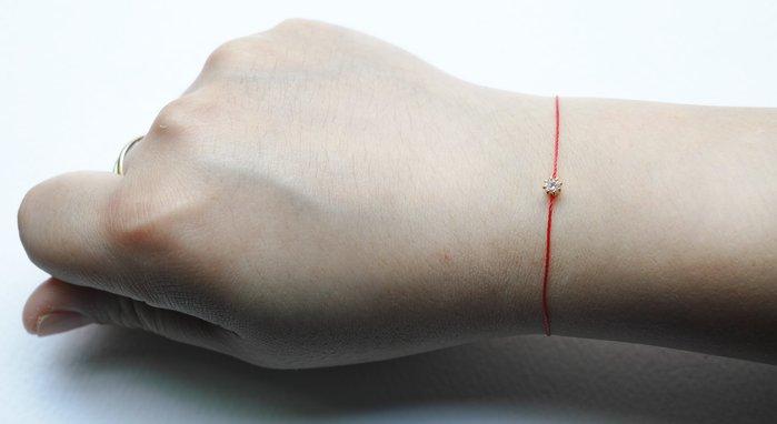 [Le Bonheur Line] 幸福線 手工 / 3mm超小單鑽 /紅線 飾品 鎖骨 迷你 (龍蝦扣)