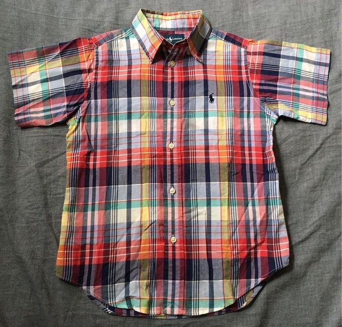 二手美國Polo Ralph Lauren格紋繡馬短袖襯衫 6T