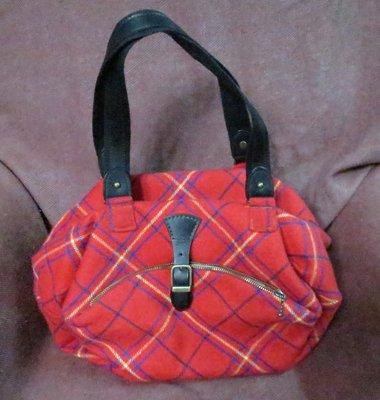 【李歐的二手皮件】近全新非BURBERRY DAKS Aquascutum 紅色格紋毛料布面手提包側肩包下標就賣