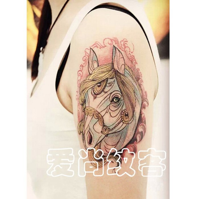 奇奇店-彩色馬紋身貼花臂男女防水持久仿真性感花圖騰刺青#精品圖案 #洗不掉的仿真紋身