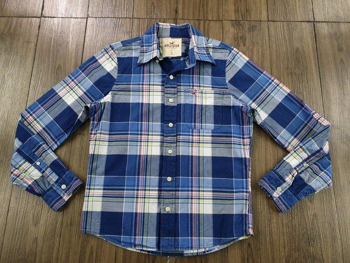 HOLLISTER 藍色 長袖格紋襯衫 (S)  (一元起標 無底價)