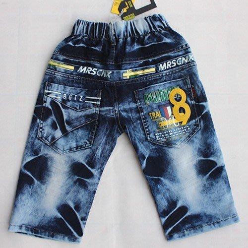 帥氣《徽章貼布8》牛仔中褲 五分褲(K4-4)