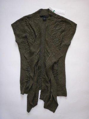美國正品Calvin Klein Jeans女橄欖綠短袖立領開放式編織毛衣(編號0378)~L