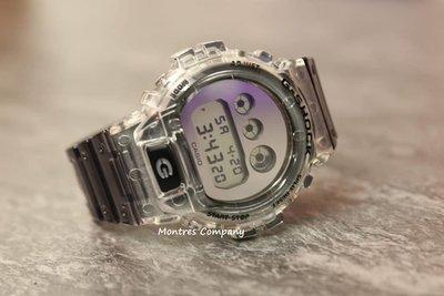 Montres Company香港註冊26年老店 卡西歐CASIO G-Shock 透明錶帶 銀灰色 DW-6900SK DW-6900SK-1 經典款 有現貨