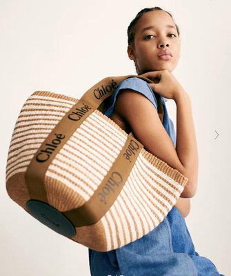現貨 新款 Chloe woody tote basket 條紋款 草編包 籐編包 托特包 今夏最in