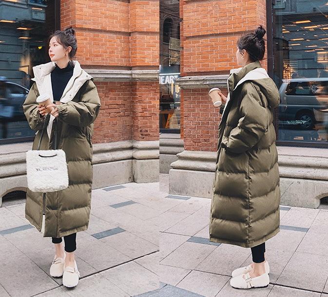 ☆MISS.STORE☆韓版冬季新款保暖過膝長版連帽棉服外套(二色)~預購+現貨