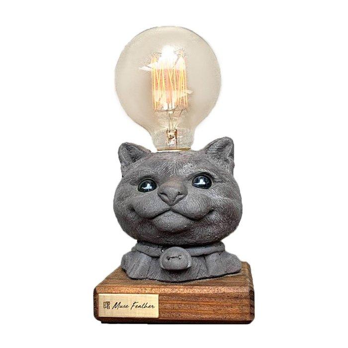 【曙muse】貓咪木底盤燈 個性水泥桌燈 造型檯燈 Loft 工業風 咖啡廳 民宿 餐廳 居家擺設