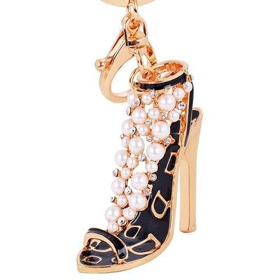 慕洛斯家居~韓國創意禮品珍珠水鉆可愛甲高跟鞋汽車鑰匙扣女包包掛件鑰匙鍊飾