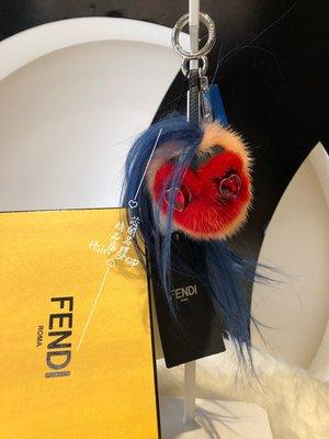 ※芯閣名牌精品店※ FENDI 7AR466 Mini Beak Mohawk  小型 貂毛鳥頭 吊飾 全新現貨