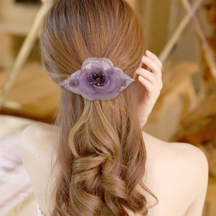 日正韓髮飾絹紗花朵髮卡名媛淑女盤頭髮夾頂夾邊夾媽媽成人頭飾品