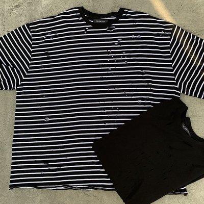 【inSAne】 韓國購入 / 破洞 / 破壞 / 短袖 / 單一尺寸 / 條紋 & 黑色