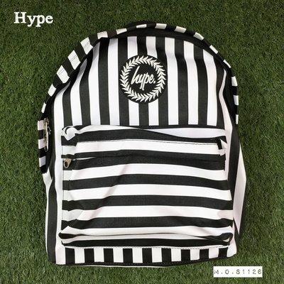 M.O.S1126 現貨 英國 Hype [ Humbug ] 黑白橫條 橫條控 條紋 特殊材質 後背包  背包