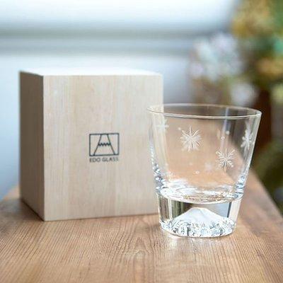 日本田島硝子 富士山杯 威士忌杯 附桐木禮盒 全新未拆 雪結晶限定版