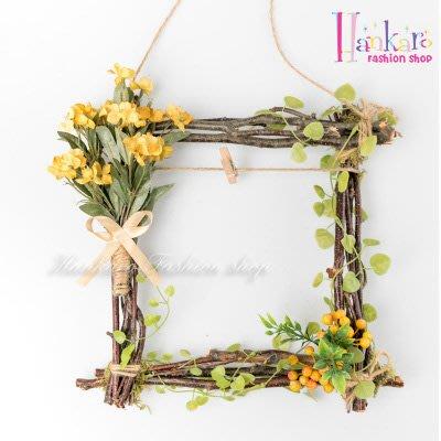 ☆[Hankaro]☆北歐清新風格樹藤方形仿真花藝掛飾(橘花)