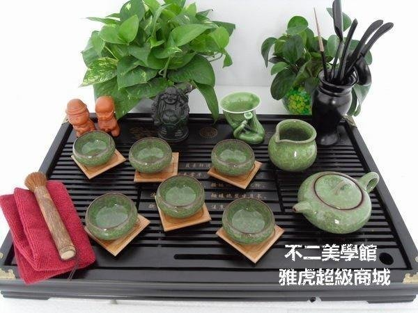 【格倫雅】^冰裂釉茶具 冰裂壺 實木茶盤 茶具套裝 功夫茶具42222[g-l-y52