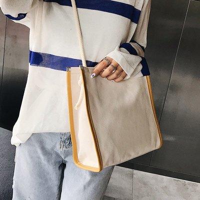 學生書包上新包包女2018新款潮韓版簡約托特包帆布百搭大容量單肩斜挎包