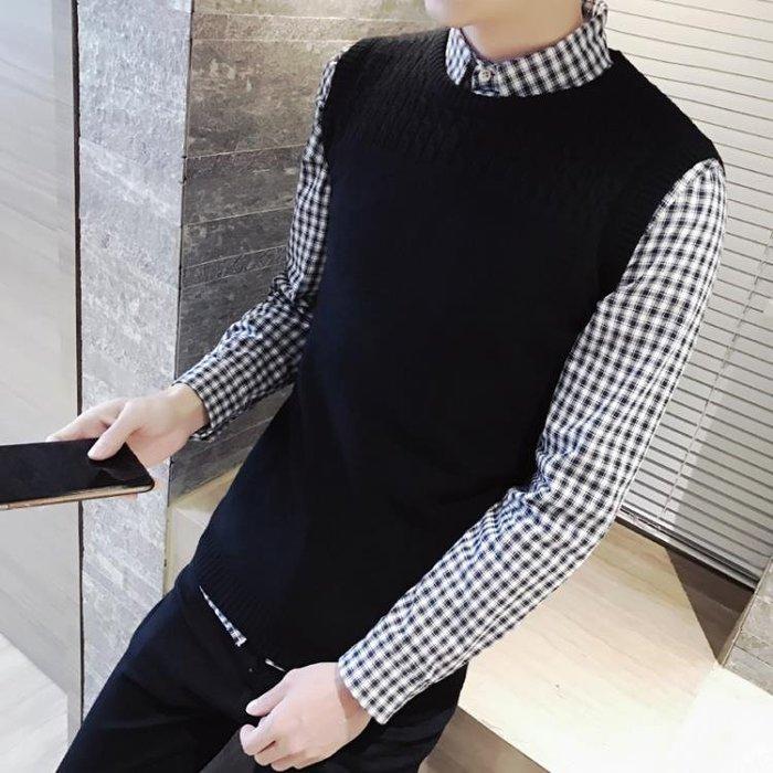 秋季新款 韓版男裝無袖毛線背心男士針織毛衣馬甲男青年修身坎肩 全館免運