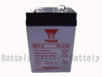 【倍特力電池】YUASA 台灣湯淺 NP4-6 6V 4AH 電池 緊急照明燈/兒童電動車/手電筒電池