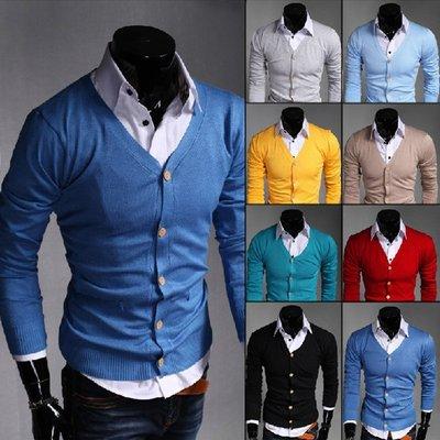 『潮范』男裝新款素面毛衣韓版修身男士純色素面針織衫開衫八色針織外套夾克NRB10495