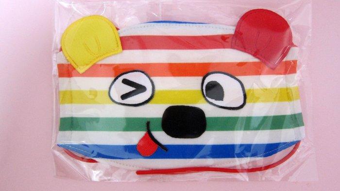 保證真品!全新未使用!童裝品牌WHY AND 1/2普普熊彩色條紋口罩/兒童造型平面布口罩