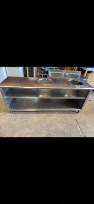 大型白鐵工作台 雙飯鍋開孔 ️🌈萬能中古倉️🌈