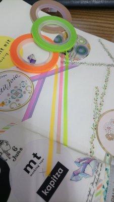 【R的雜貨舖】紙膠帶分裝 日本mt 和紙膠帶 細 3mm 霓虹漸層