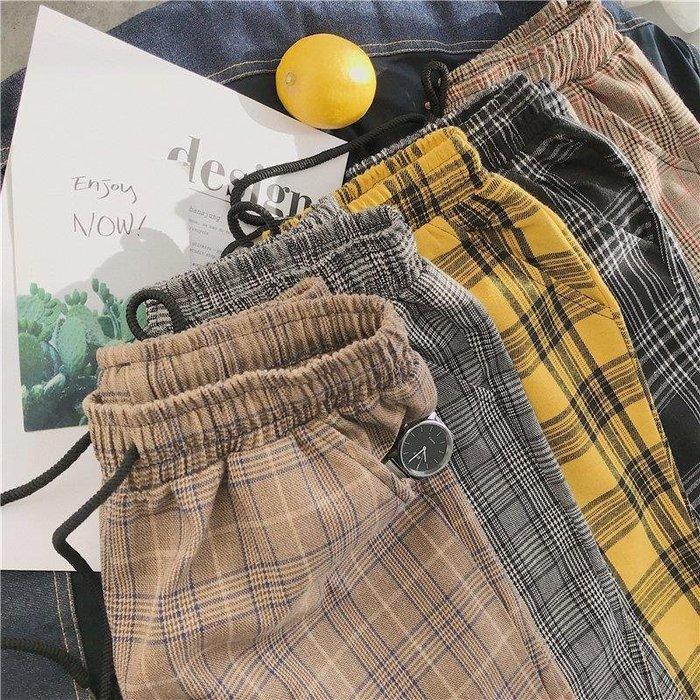 ZIHOPE 男休閒長褲 工作長褲 NS超火的同款復古撞色格子直筒長褲子ULZZANGZI812