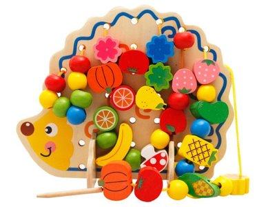 【晴晴百寶盒】木製水果刺蝟串珠繞珠 可愛萌水果串串樂 益智遊戲 玩具 生日禮物 送禮禮品 CP值高 平價促銷 A139