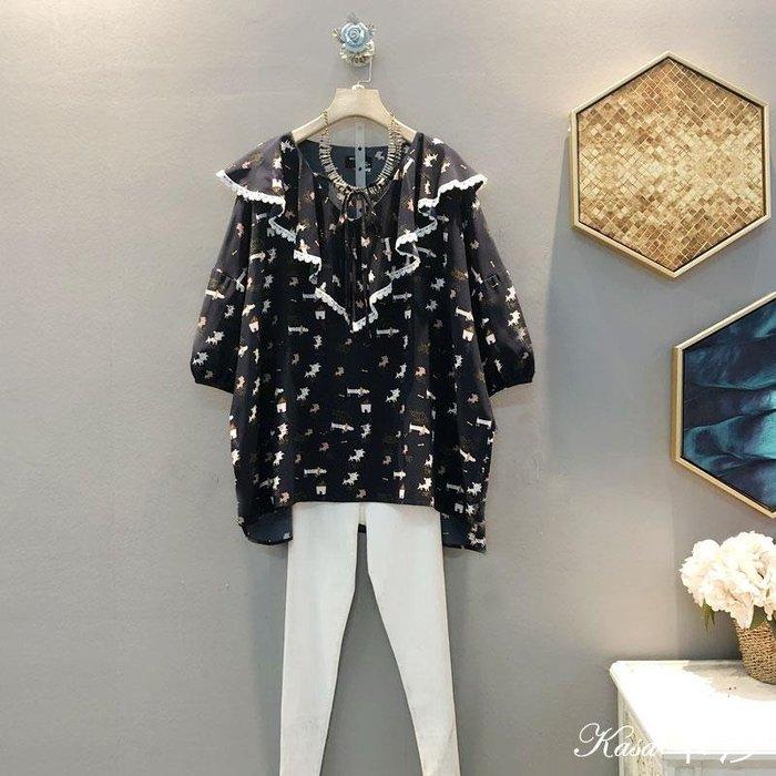 時尚大碼♥大碼卡通圖案寬松系帶蝴蝶結娃娃裝套頭襯衫
