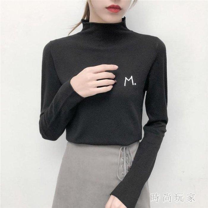 高領毛衣  新款半高領套頭毛衣女長袖內搭打底衫學生字母針織衫OB161